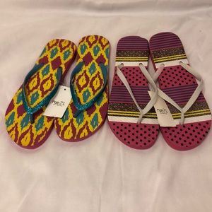 Two pairs of multi colored flip flops